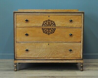 Attractive Small Antique Edwardian Solid Golden Oak 3 Drawer Chest Of Drawers