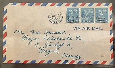 cover United States America Brooklyn New York Air Mail to Norway Bergen 1951