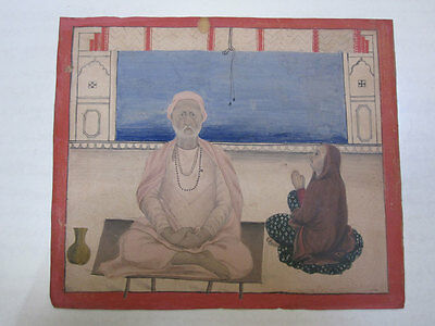 Old Antique Mughal Style Miniature Painting Of A Saadhu Stone Colors On Paper