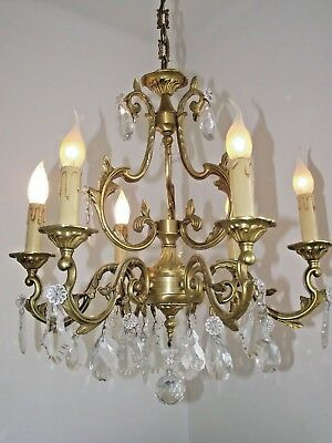 French Chateaux Style Antique Louis XV Cage 6 Arm Bronze Crystal Chandelier 1032