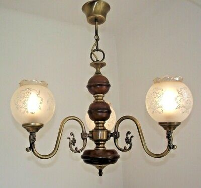 Vintage French Wood & Bronzed Effect Metal 3 Arm Chandelier Glass Shades 1163