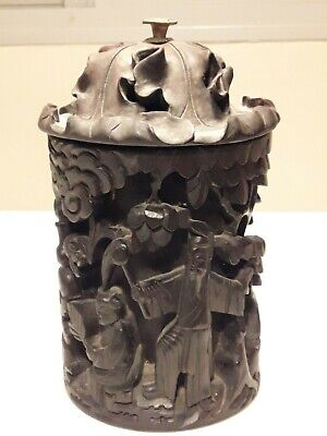 Rare Old Chinese Carved Zitan Rosewood Brush Pot Bitong With Cover Incredible