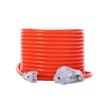 50 Foot Heavy Duty Extension Cord Outdoor Lighted Electric Power Cable Orange