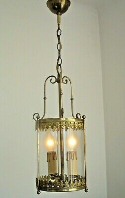 Beautiful Vintage French Round Glass & Brass Ceiling Lantern Detailed Frame 1101
