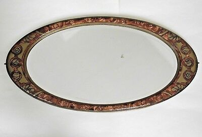 Beautiful French Antique Art Nouveau Bevelled Glass Oval Decorative Mirror 1033
