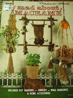 vintage MACRAME pattern booklet 70s plant hanger owl wall hanging table jewelry