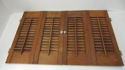 "Vintage Colonial Wood Interior Louver Window Shutter Pair  21"" Tall 33"" Wide K3"