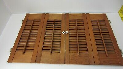 "Vintage Colonial Wood Interior Louver Window Shutter Pair  21"" Tall 33"" Wide K4"