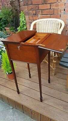 Edwardian Antique Solid Mahogany Sewing Craft Artists box table stand