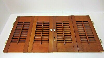 "Vintage Colonial Wood Interior Louver Window Shutter Pair  17"" Tall 33"" Wide M1"