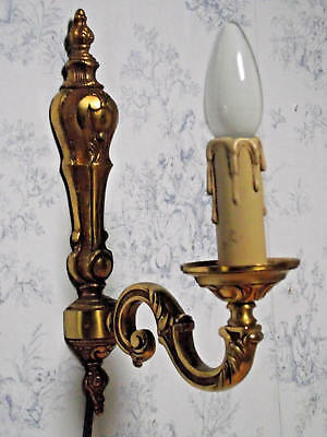 Super French Vintage Brass Traditional Empire Style Detailed Single Wall Sconce