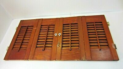"Vintage Colonial Wood Interior Louver Window Shutter Pair  17"" Tall 33"" Wide M2"