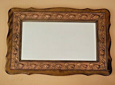 Hand Made Vintage French Hardwood & Copper Inlay Rose Design Oblong Mirror 1167