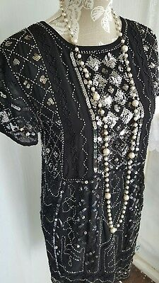 Vtg 1920,s style Downton Gatsby black sequin beaded deco flapper dress 8