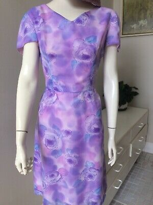 Original Vintage 50s 60s Floral Day  Dress Large , Wiggle Skirt,Pinup Rockabilly