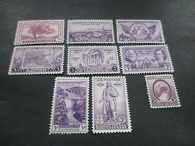 Eight [8] Mlh U.s. Three [3] Cent Stamps. Lot Bc- 58. Well Centered.