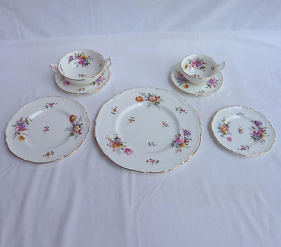 STUNNING ROYAL CAULDON *ENGLISH BONE CHINA* Plates Cups Saucers MARITA svc 8