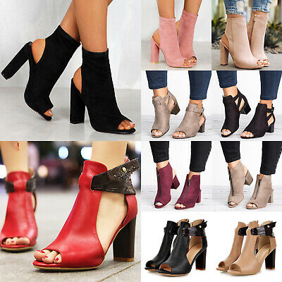 Women Block Heel Sandals Ladies Peep Toe Ankle Strap Chunky Boots Party Shoes UK