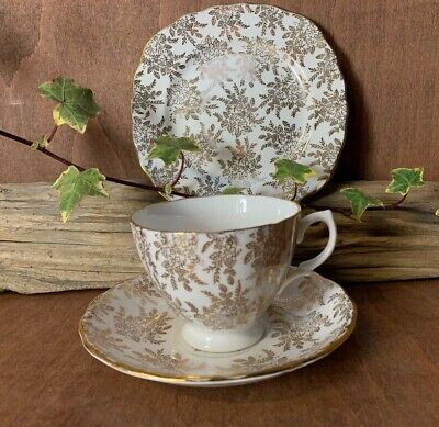 Royal Vale Bone China Tea Trio,  Tea Cup , Saucer & Side Plate, gold pattern