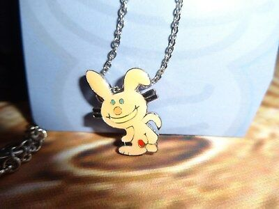 """Jim Benton Happy Bunny Charm Pendant Necklace Kiss my Butt """"pointing"""" Pale Pink"""
