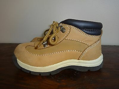 Genuine Kids Leather Boots Tan Unisex Boys Girls Hiking Size 9.5 Ankle Hiking