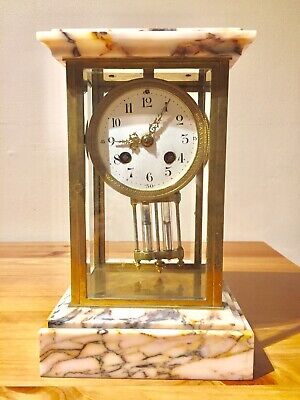 Antique Marble Based Four Glass Clock C1900