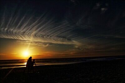 Ocean Sunset, Art Photo, Digital Image, Wallpaper Picture, free delivery