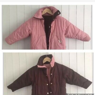 GirlS Reversible Winter Coat Jacket Burgundy Pink Size 4 Years MailBox By Manx