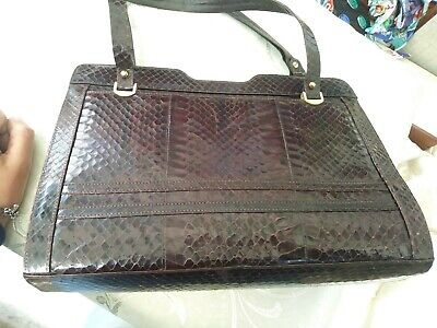 VINTAGE Black Python Snakeskin Leather Top Handle Bag Clasp Handbag ~ Goodwood