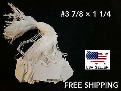 1000 Blank White Merchandise Price Tags with Strings Size #3  7/8 × 1 1/4