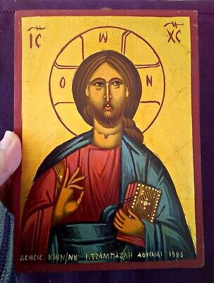 HANDPAINTED 1986 Jesus Christ iconography orthodox byzantine Greek icon on wood