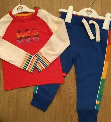 Little Bird By Jools Oliver Age 12-18 Months Rainbow Joggers & Hi - Bye Top Bnwt
