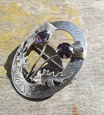Vintage Scottish Sterling Silver Amethyst Double Thistle Brooch