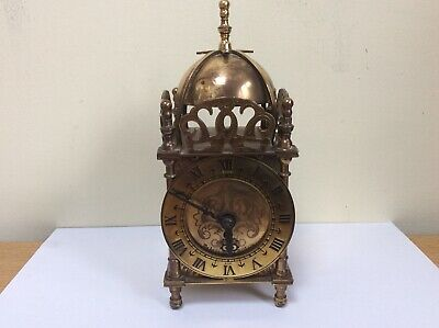 Antique Brass Lantern Clock Smiths Fully Working With Key Winder