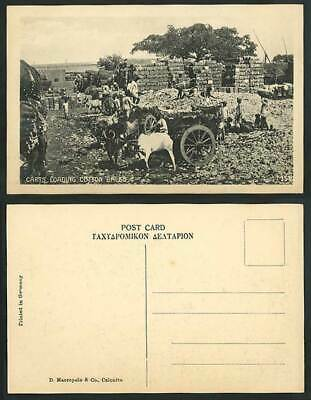 India Old Postcard Bullock Carts Loading Cotton Bales Cattle Workers Ethnic Life