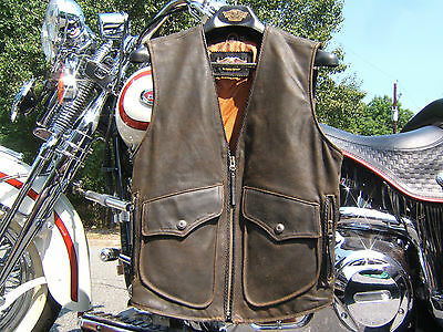 Harley Davidson Billings Leather Vest Small Springer Ultra  Softail Roadking