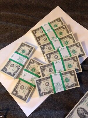 """100 Uncirculated $2 Two Dollar Bills Money Sequential Order  """"LUCKY"""" ($200 Face)"""
