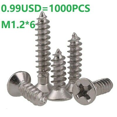 Ni Plated Phillips Flat Head Sheet Metal Selft Tapping Screws M1.2*6mm - 1000PCS