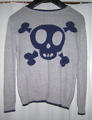boys cream f&f knitted fleck skull jumper size 6 - 7 years D11 G