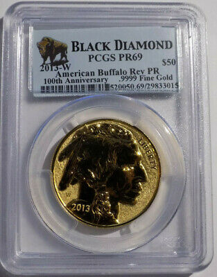 2013-W $50 American Buffalo 1 oz .9999 fine gold Reverse Proof PCGS PR 69
