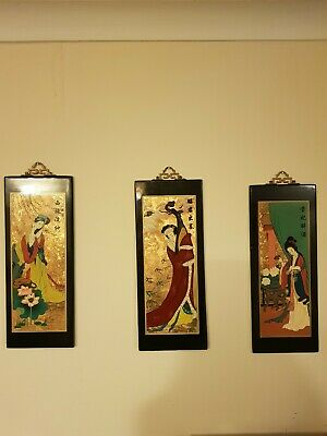 3 Hand Painted Geisha On Wood Paintings Japanese oriental