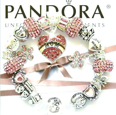 Authentic Pandora Bracelet Silver MOM MOTHER DAY Family Pink European Charms New