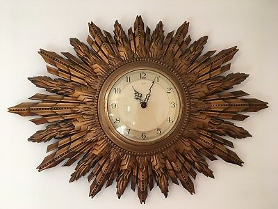 Large Vintage Smiths Gold Sunburst / Starburst Battery Wall Clock. Retro.