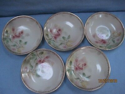 Antique Welmar Hand Painted Porcelain 5 Berry Bowls Germany