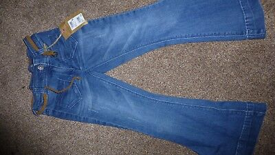 BNWT Girl's Next Denim FLARE RELAXED Trousers 6 years 116 CM with belt pockets