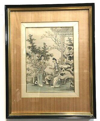 ANTIQUE JAPANESE WATERCOLOR ON SILK TWO LADIES HOLDING A SCROLL 15 x 19
