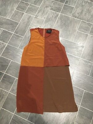Zara Special Edition Size Large 3 Shades Of Brown Block Sleeveless  Dress