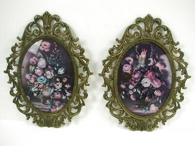 Vintage Pair of Brass Metal Oval Floral Picture Frames Convex Bubble Dome Glass
