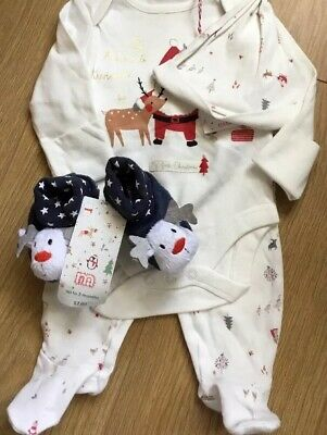 Mothercare My First Christmas Set & Rattle Soft Shoes Fit Up To 3 Months