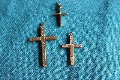 Set of Three Detailed Gold Tone Crosses Vintage Antique Engraved Italy